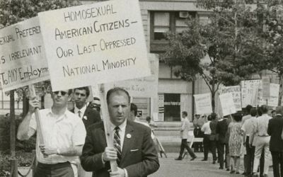 """Frank Kameny protests efforts to force out gay federal workers in a scene from """"The Lavender Scare."""""""
