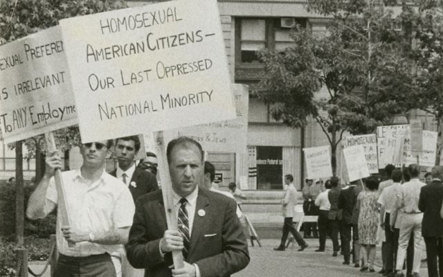 "Frank Kameny protests efforts to force out gay federal workers in a scene from ""The Lavender Scare."""