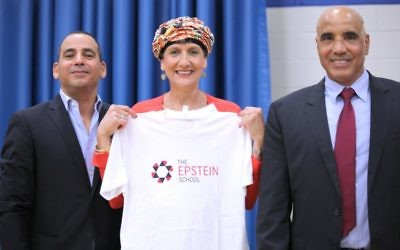 Knesset members Yoel Hasson, Shuli Moalem-Refaeli and Hamad Amar visit the Epstein School.