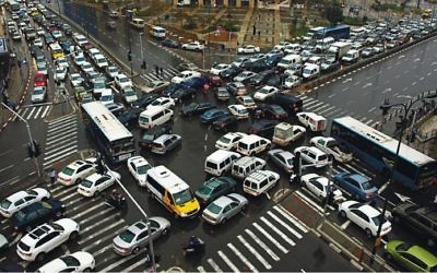Photo by Dim Schliefman Gridlock-traffic is typical during rush hour in Tel Aviv.