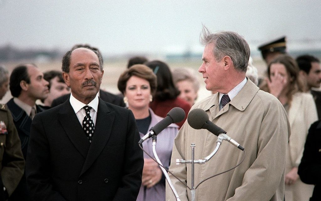 Secretary of State Cyrus Vance welcomes President Anwar Sadat of Egypt to the United States at Andrews Air Force Base in 1980.