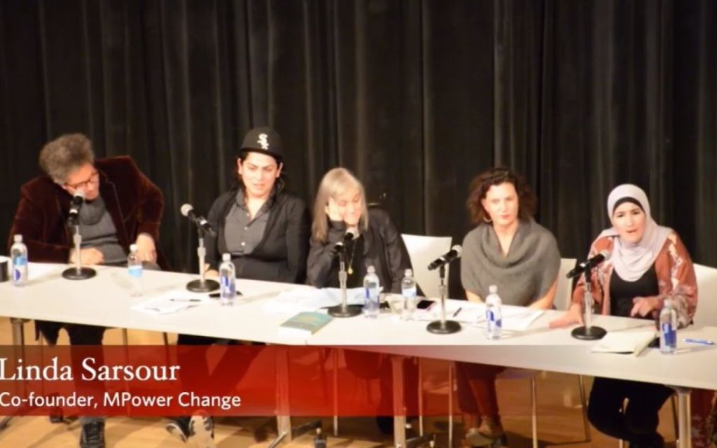 Linda Sarsour speaks during a panel discussion on anti-Semitism at the New College on Nov. 28. (Screen grab from Jacobin Magazine's video)