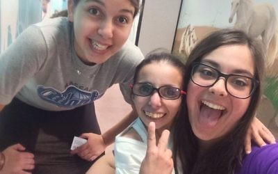 Eliana Goldin (right) spends quality time with campers at Shalva this summer.