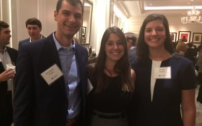 Birthright Israel alumni Jonathan Arogeti, Michelle Stribling (center) and Sarah Arogeti are taking their places as young leaders in Jewish Atlanta.
