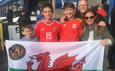 Josh Francombe (second from left) is joined by his brothers and parents David and Stacie for a Wales under-16 match in Northern Ireland.