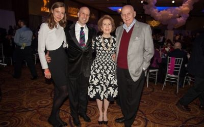 Gail and Louis Adler, freshly arrived from Houston, join son Marc Adler and Veronika Federiko at opening night.
