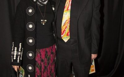 Film selection committee members Gary and Ronni Landau turn out in a contrasting Garcia tie and a Revue appliquéd coat jacket.