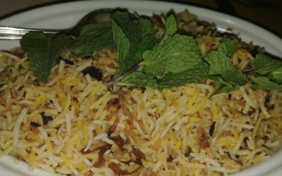 Although most Middle Eastern rice dishes are served with yogurt on the side, the ingredient was cooked into the lamb biryani.