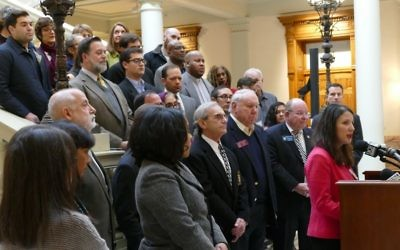 ADL Southeast Regional Director Allison Padilla-Goodman speaks about the need for a hate-crimes law in Georgia at the Capitol on Jan. 3.