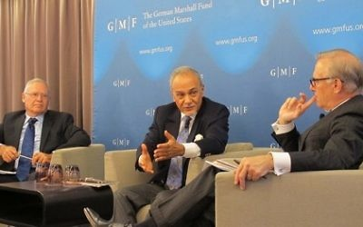 "Photo courtesy of the German Marshall Fund (From left) Israeli Gen. Amos Yadlin, Saudi Prince Turki bin Faisal al-Saud and Washington Post columnist David Ignatius discuss ""Israel and the Middle East: Seeking Common Ground"" in May 2016."