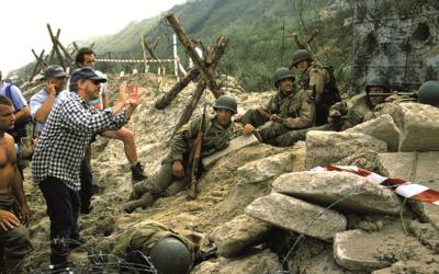 "Steven Spielberg directs the D-Day scene from ""Saving Private Ryan."""