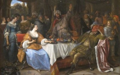 """Jan Steen's """"Esther, Ahasuerus, and Haman"""" from 1668 reflects the uncertainty of Purim."""
