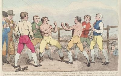 Samuel William Fores depicts the epic first fight between Daniel Mendoza and Richard Humphries in 1788, which Mendoza lost.