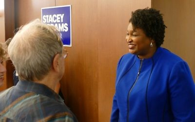Stacey Abrams works the room before the Jewish Democratic Women's Forum on Feb. 22.