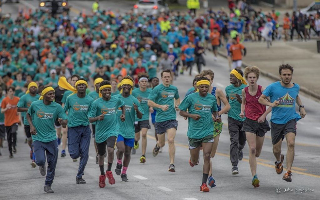 Over 7,000 Hunger Walk/Run participants made it to Georgia State Stadium despite the bad weather Feb. 25. (Photo by John Boydston)