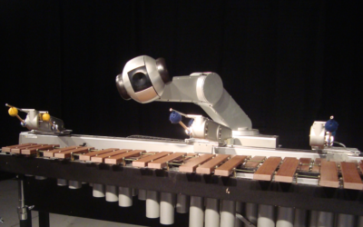 Shimon, Gil Weinberg's musical robot, uses various algorithms to help it create new genres of music.