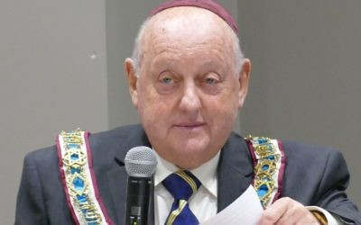 Alan Rubenstein makes his first address as the first American grand president of HOD International over lunch at Congregation B'nai Torah on March 18.