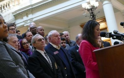 ADL Southeast Regional Director Allison Padilla-Goodman speaks in support of hate-crimes legislation at the Georgia Capitol on Jan. 3.