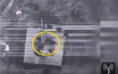 An image from aircraft footage released March 21 by the IDF shows the Syrian nuclear facility being bombed Sept. 6, 2007.