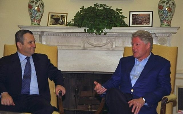 Prime Minister Ehud Barak and President Bill Clinton seem relaxed together at the White House in November 2000. (Photo by Moshe Milner, Israeli Government Press Office)