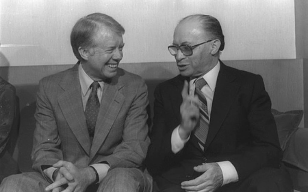 It wasn't all tough talk and frayed relations between President Jimmy Carter and Prime Minister Menachem Begin, as seen in this photo from the Prime Minister's Residence in Jerusalem in March 1979. (Photo by Ya'acov Sa'ar, Israeli Government Press Office)