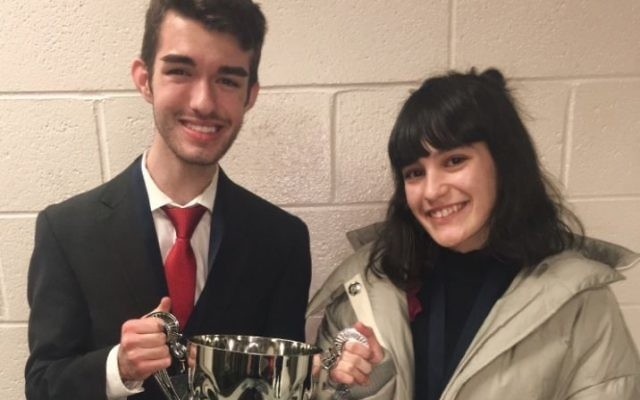 Tyler Holt and Madison Hynson from Starr's Mill High School are the actual 2018 GFCA state debate champions.
