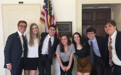 Leaders for Tomorrow 2017-18 members (from left) Max Ripans, Olivia Frank, Tate Foster, Rayna Fladell, Lian Kleinman, Jack Tresh and Nathan Posner visit Capitol Hill.