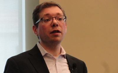 Rabbi Shlomo Pill speaks at a Leadership and Multifaith Program lecture at Emory on March 26. (Photo by Kevin Madigan)
