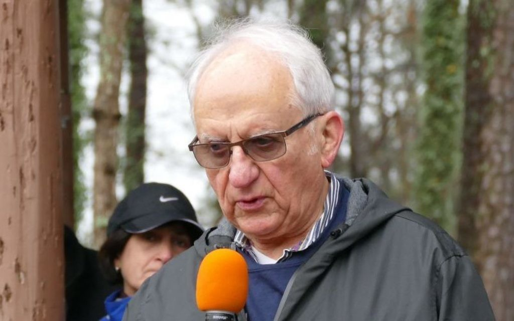 Ben Klein, a Holocaust survivor from the Netherlands, tells his story as part of the closing ceremony of the annual Daffodil Dash on Sunday, March 25.