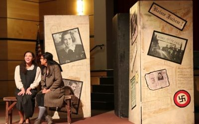 "Eva Schloss and Anne Frank are portrayed in ""And Then They Came for Me"" at the Walker School on March 16."