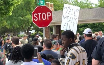 Protesters show that they don't want Nazis in Newnan on Saturday, April 21. (Photo via Eternal-Life Hemshech's Facebook page)