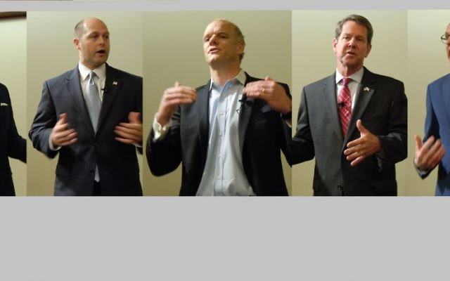 Republican gubernatorial candidates (from left) Michael Williams, Hunter Hill, Clay Tippins, Brian Kemp and Casey Cagle