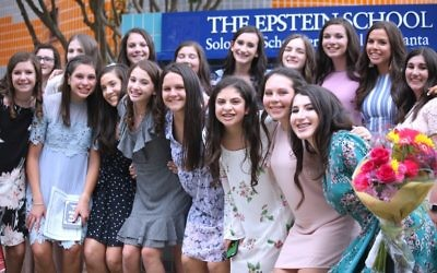 Gathering for a final photo together before heading to high school are (front row, from left) Hillary Smith, Emma Nowitz, Molly Fisher, Lulu Rosenberg, Marissa Goodman, Gali Bendavid, Tamar Guggenheim and Elana Katz and (back row, from left) Gabrielle Rosenfeld, Rebecca Kann, Galia Cohen, Mollie Meyerowitz, Olivia Lerner, Andrea Zaglin, Reagan Lapes, Kira Berzack and Emma Mailman.