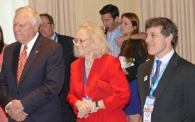 Georgia Gov. Nathan Deal, Israeli Consul General Judith Varnai Shorer and FIDF Southeast Chairman Garry Sobel listen to remarks by Maj. Gen. Meir Klifi-Amir.