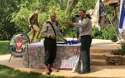Lt. Col. Nitai Okashi has replaced Lt. Col. Itamar Deshel as the commander of the ultra-Orthodox battalion Netzach Yehuda. (Nahal Haredi photo)