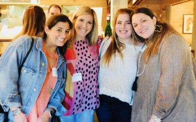 Erica Cohen, Casey Silberman, Alli Boardman and Shira Davis attend the JELF happy hour April 18. (Photo courtesy of JELF)