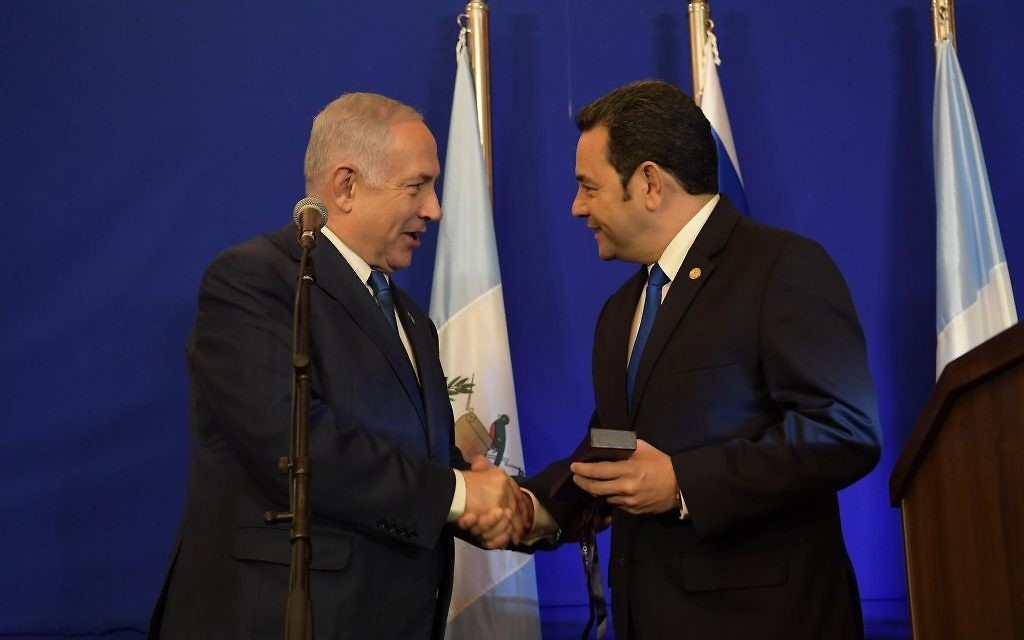 Meanwhile, Guatemala has opened its embassy in Jerusalem, an occasion that brings Israeli Prime Minister Benjamin Netanyahu and Guatemalan President Jimmy Morales together on Wednesday, May 16. (Photo by Amos Ben-Gershom, Israeli Government Press Office)