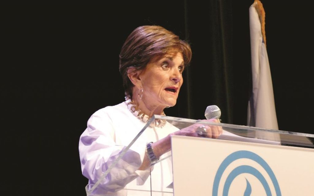 Lois Blonder shares her experiences growing up in  Atlanta's Jewish community  after receiving the Lifetime Achievement Award during the Jewish Federation of Greater Atlanta's annual meeting.