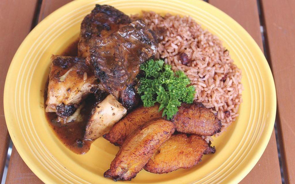 Chef Rob's Caribbean Kitchen Cafe jerk chicken plate.