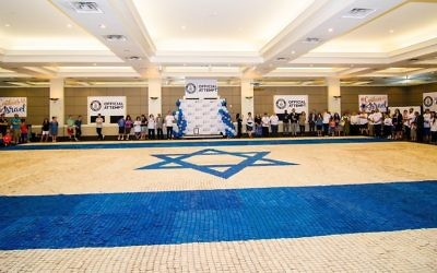 At 3,224 square feet, Jewish Atlanta's Israeli cookie mosaic flag is 786 square feet larger than the previous recordholder, a Pakistani cookie flag from 2017. (Photo by Eli Gray)