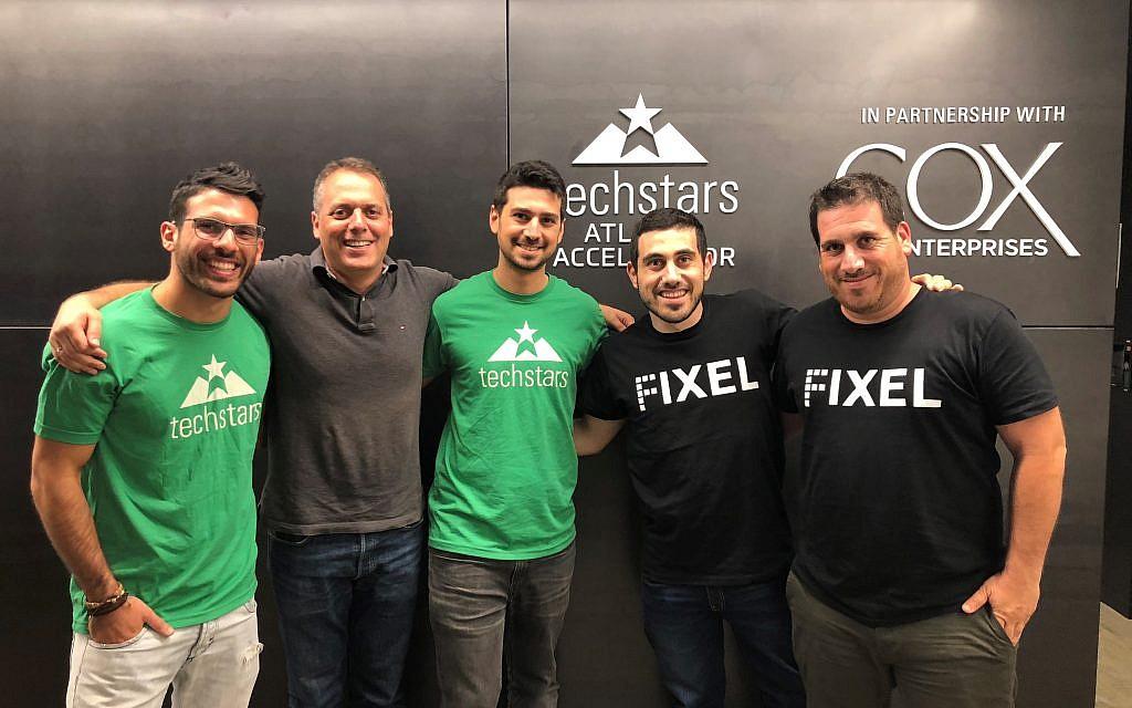 Joining Techstars Atlanta are, from left: Cemento lead engineer, Or Shapira; CEO and cofounder, Dov Litmanovitz; CTO and cofounder, Tomer Shohet; Fixel CTO and cofounder, Hadar Shpivak; and CEO and cofounder, Etgar Shpivak.