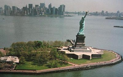 Ellis Island and the Statue of Liberty in NYC.