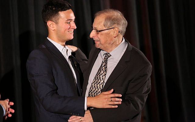 Donor Judah Berger, left, embraces marrow recipient Bernard Weiner. (Denis Bancroft/Bancroft Creative Group)