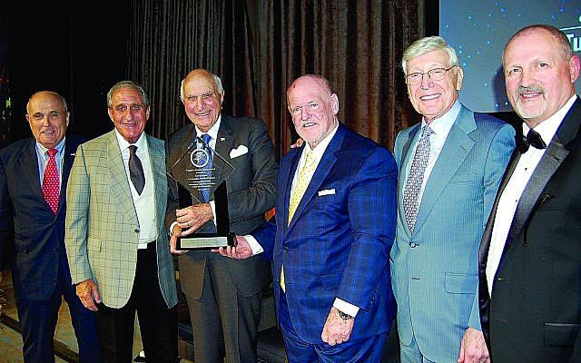 Rudy Guiliani, Arthur Blank, Ken Langone, Pat Farrah, Bernie Marcus and Frank Siller at the Tunnel to Towers Foundation gala.