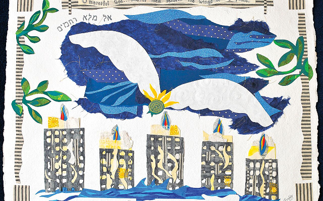 "Atlanta artist Flora Rosefsky created this large paper collage, ""Beneath Thy Wings,"" for the Yizkor memorial service on Yom Kippur."
