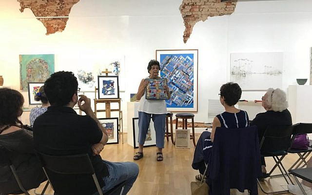"Photo courtesy of Donna Kreuger/dk Gallery // Flora Rosefsky speaks about her work, ""S'chach,"" at dk Gallery in Marietta."