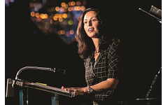 Keynote speaker Helen Zalik, a former JELF loan recipient, spoke of dreaming big and said happiness will come with a larger vision.   Courtesy of Revelry Photo
