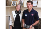 Scholarship recipient Benjamin Weiser, right, is joined by Quota member Margaret Wheeler, whose husband the scholarship honors.