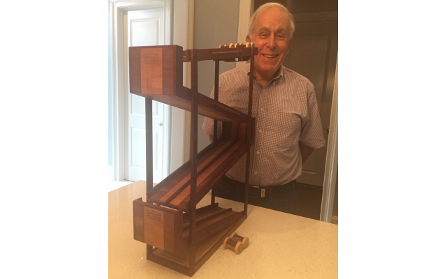 Ed Gerson handmade this racetrack for his out-of-state grandsons and had to assemble it twice.