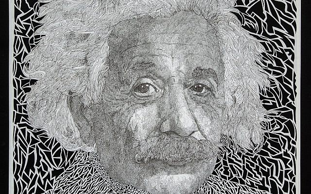 """Dan's detailed stencil  4-by-4-foot """"Ben Gurion""""  lets the light shine through."""